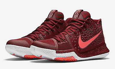 """Nike Kyrie 3 (PS) """"Warning"""" Red/Hot Punch/White (869985 681) Preschool 13.5c"""