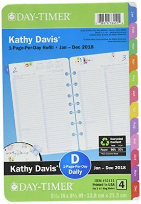 """Day-Timer One Page Per Day Planner Refill, January 2018 - December 2018, 5-1/2"""""""