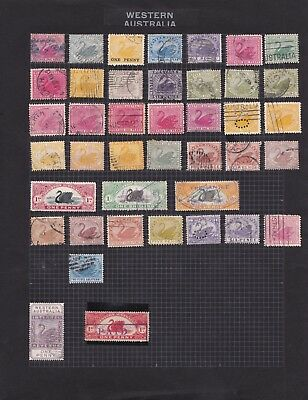 WA65) WA selection of 36 Swan issues to 1/- (3) + a few Stamp Duties