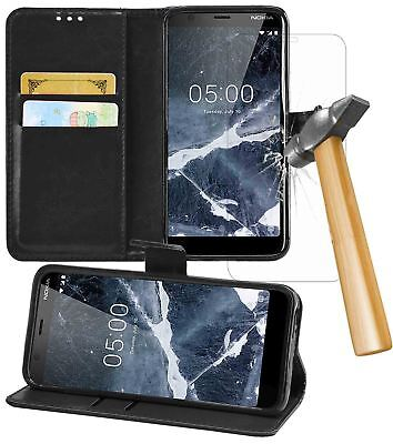 Nokia 5.1 2018 PU Leather Wallet Flip Case Cover Book with Tempered Glass