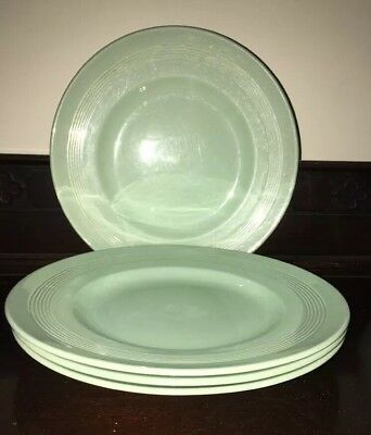 """Woods Ware Beryl 10"""" Dinner Plates Green Utility set of 40s 50s 60s WWII 4x"""