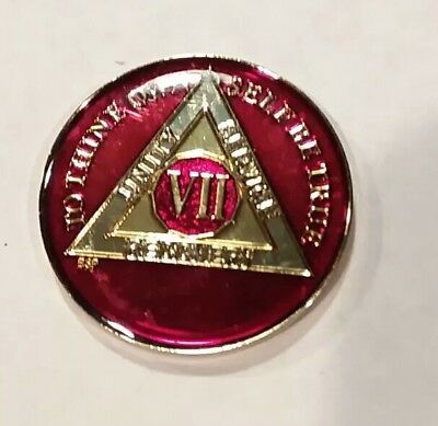 22 Year AA Medallion Glitter Pink Tri-Plate Chip XXII Recovery Mint
