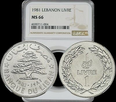 1981 Lebanon Livre NGC MS66 Lightly Toned & Stylish Design