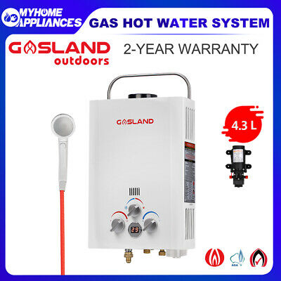GASLAND Gas Hot Water Heater - Portable Shower System Caravan Camping 4.3L Pump