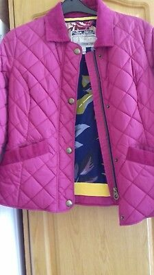 Ladies Joules Jacket Size 14 Cerise Pink Quillted Floral Lined