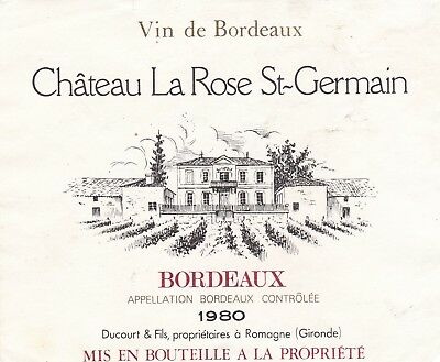 étiquette vin chateau La rose st-germain bordeaux 1980