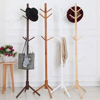 Wooden Coat Stand Rack Clothes Hanger Hat Tree Style Jacket Bag Umbrella Hook