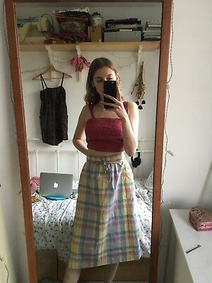 Amazing Vintage Pastel Rainbow Check Midi Skirt Wrap Retro 50s 60s 12 14 18 M L