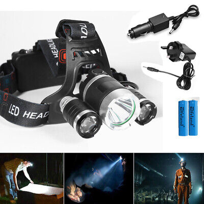 12000 LM Lumens 3 x XML CREE T6 LED Rechargeable Headlamp Headlight Torch Light
