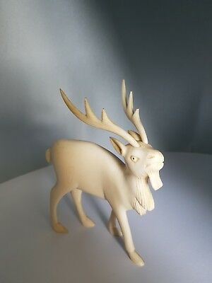 Antique Bovine Bone Carved Deer Stug  Figure