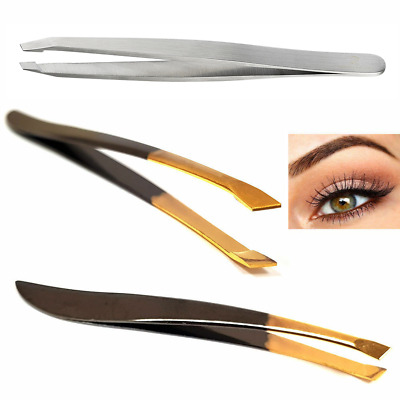 Professional Slanted Grippy Eyebrow Tweezers In High Quality Hair Beauty Gripped