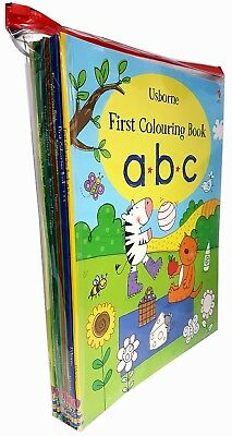 Usborne First colouring book ABC 123 Airport 10 Books Collection Set Brand NEW