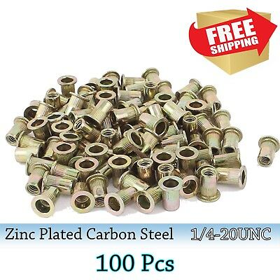 100Pcs Rivet Nut Flat Head 1/4-20UNC  Insert Nutsert Zinc Plated Carbon Steel