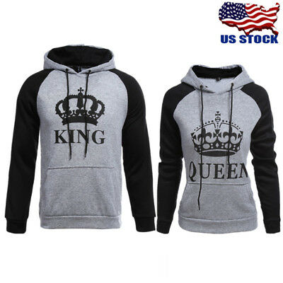 Lover Couple Matching King And Queen Hoodie Jumper Sweater Tops Sweatshirts