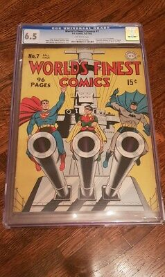 Worlds finest 7 - CGC - Iconic Golden Age Comic - Batman, Robin, Superman - 1942