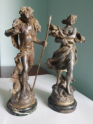Antique pair of French spelter figures - signed Auguste Moreau