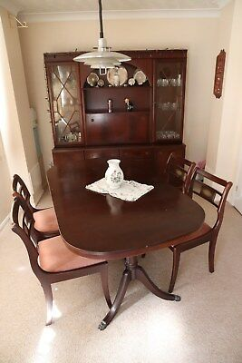Dining room suite by McIntosh, mahogany wood - 4 chairs, tableandwall unit