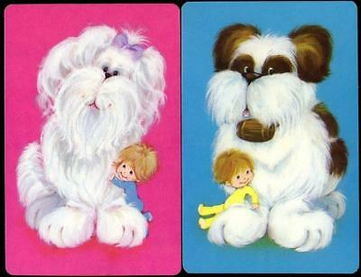 Beautiful Swap Cards Of Large Puppy Dog With Little Girl And Boy Brand New