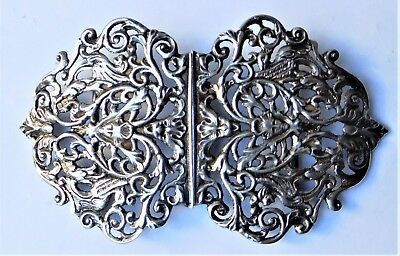 NO RESERVE HM1902 Silver Nurses Buckle Vintage Antique