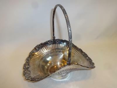 Antique 1800's Barbour Silver Co Silverplate Repousee Reticulated Grapes Basket