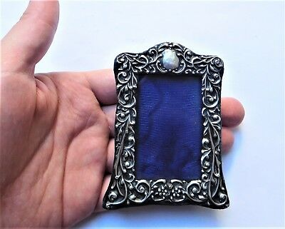 NO RESERV HM1904 Miniature Silver Photo Photograph Frame Vintage Antique Picture