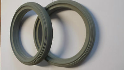 Pair Of Solid Castor Tyres 190mm x 29mm NHS Type Wheelchair Grey Front