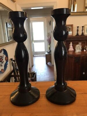 Vintage Pair Wooden Candle Holders