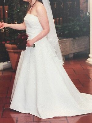 Alfred Angelo Wedding Dress In Ivory Satin, Petit Length, Size 14