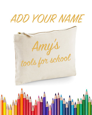 Personalised Pencil Case Custom Text Stationary Bag Kids School College Uni Pen