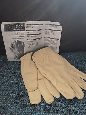 Arco ladies mens Size 8 Leather Lined work gardening gloves