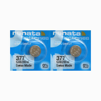 2 x Renata 377 SR626SW SR66 AG4 Watch Batteries Silver Oxide 0% Mercury