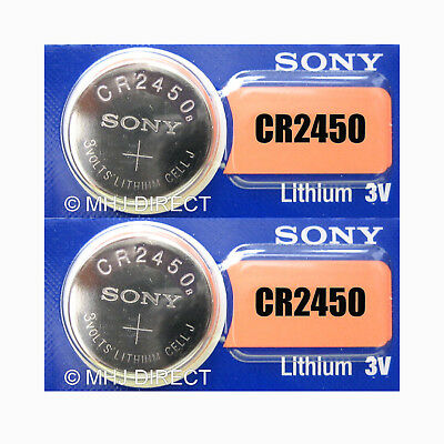 2 x Sony CR2450 CR 2450 DL2450 Lithium 3v Batteries Coin Cell Use By Date 2028