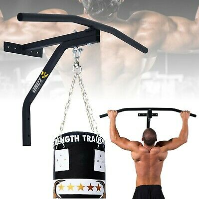 ONEX Iron Chin Up Pull Up Bar with Punch Bag Bracket Wall Mounted Fitness Boxing