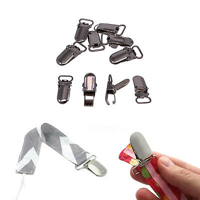 10pcs 1cm Wide Metal Brace Dummy Pacifier Suspender Clips for Ribbon Craft Hook