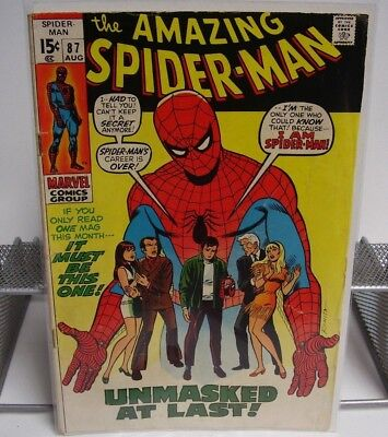 The Amazing Spider-Man Unmasked At Last! No.87 Aug Marvel Comics Group