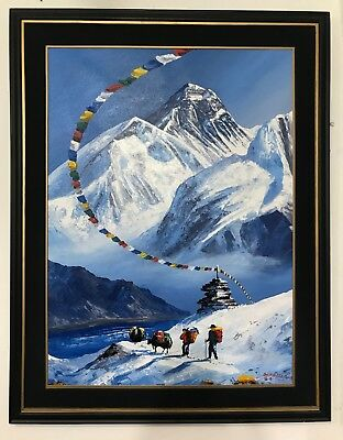 """MOUNT EVEREST VIEW FROM BASE CAMP ORIGINAL ACRYLIC PAINTING IN CANVAS  22"""" x 30"""""""