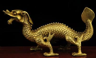 China old antique hand made brass Han Dynasty dragon statue b02