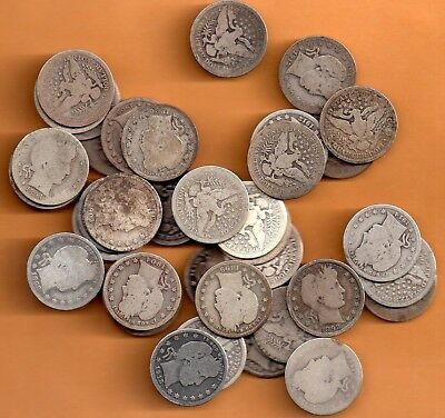 **  Full Roll Of  40 Silver Barber  Quarters   Mixed   ***