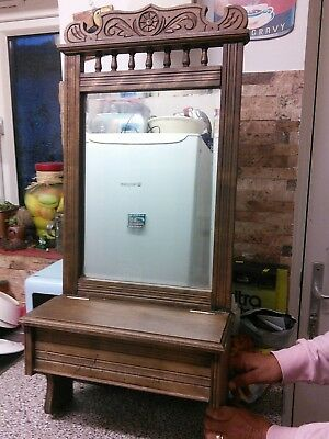 Antique, vintage, mirror carved Oak Hall, Bathroom, Mirror And Candle Box Unit