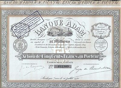Banque Adam S.A., Boulogne, 1920 mit Rest-Coupons - uncancelled