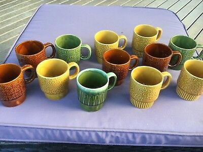 70s Ceramic Cups With Pattern x12 in original box                  Made in Japan