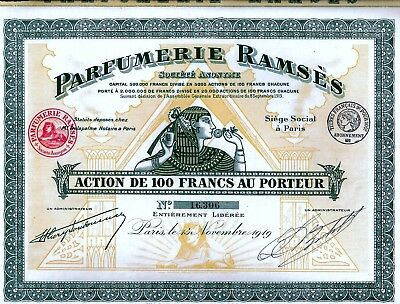 Parfumerie RAMSES S.A., Paris, 1919 mit Rest-Coupons - uncancelled