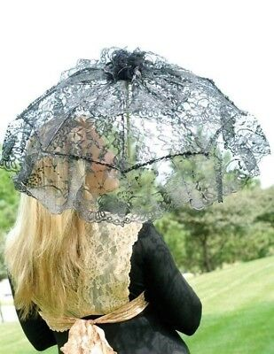 Victorian Trading Co Black Lace Parasol Umbrella