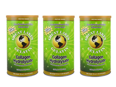 3 X Great Lakes Gelatin Collagen Hydrolysate Joint Care Beef 454Grams