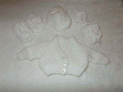 """White Cardigan  Bonnet Mittens And Booties  12""""chest"""