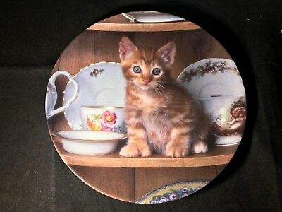 """The Crestley Collection """"Teatime Tabby"""" Collector Plate #1301A Plate 2 from 1993"""