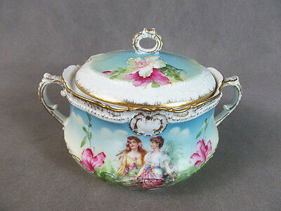 "Early 1900s PM Bavaria Porcelain CRACKER JAR~~Maidens in Garden ""Flora"""