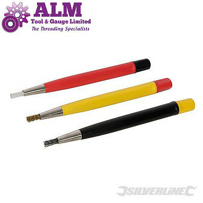 Silverline 3 pack Scratch Brushes, craft tool for watches, jewellery etc
