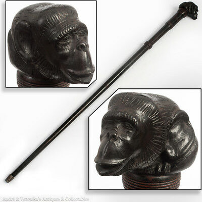"Antique Carved Ebony MONKEY Head 32"" Walking Stick Victorian Chimpanzee Folk Art"
