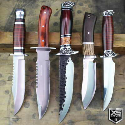 5PC Set Combat SURVIVAL Hunting Tactical BOWIE Wood Fixed Blade FULL TANG Knife